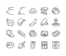 pork meat thin line icons