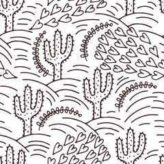 seamless hand-drawn pattern with cactus and desert