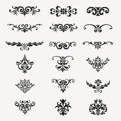 Calligraphic Decorative Design Elements Vintage Vector Illustration
