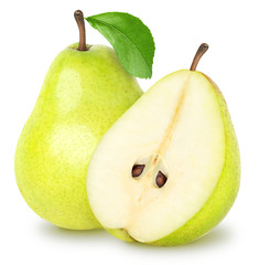 Pear with a half isolated on white, clipping path