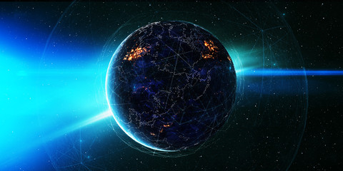 Global International Connectivity Background/Connection lines Around Earth Globe, Futuristic Technology  Theme Background with Light Effect, Some elements of this image furnished by NASA.