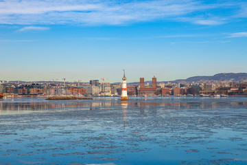 Oslo city waterfront, sunny winter day