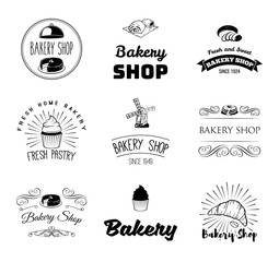 Vector set of bakery and bread logos, labels, badges and design elements.