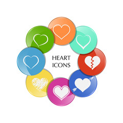 Set of heart icons. Vector