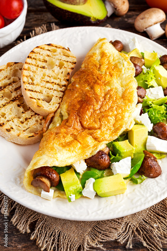 Mushroom, Feta Cheese egg Omelette witch Avocado, vegetables, lettuce ...