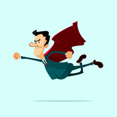 businessman in red cape flying up over light blue background