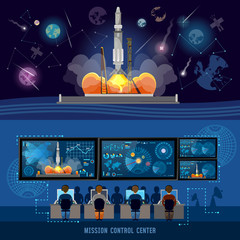 Mission Control Center, start rocket in space