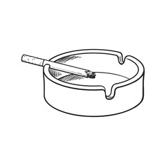 White clean and empty ceramic ashtray with a single lit cigarette, sketch vector illustration isolated on white background. Realistic hand-drawing of simple white ash tray with a burning cigarette