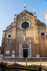 St. Mary's Church dei Frari,Venice,Italy,21 January 2017,panorama of St. Mary's Church dei Frari, winter morning, famous churches with monuments Ticino Vechelje and sculptor Antonio Canova
