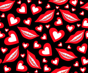 Colorful Valentine's vector seamless pattern with smiling female mouth and red hearts
