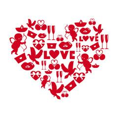 Vector illustration of symbols of Valentines day