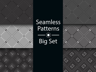 Geometric seamless pattern, textile effect, BIG SET, flat