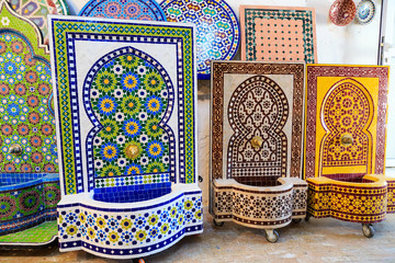 Making of Moroccan mosaic fountain in a factory