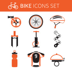 Biking gear icon set