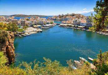 Agios Nikolaos and Voulismeni lake in Crete island, Greece. Agios Nikolaos, Crete island.