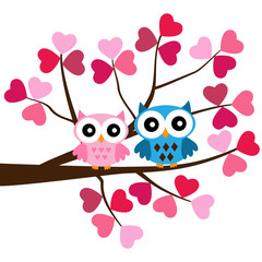 Two Owls sitting on the branch in  the hearts