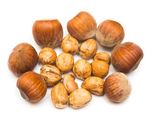 Hazelnut isolated on a white background. Nuts. Flat lay, top vie