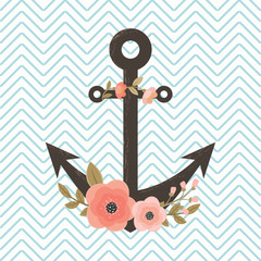 Floral anchor on chevron background