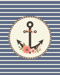 Retro card template with floral anchor