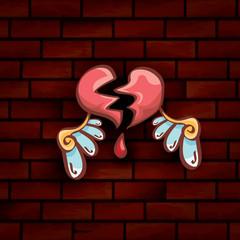 vector cartoon tattoo style red broken heart