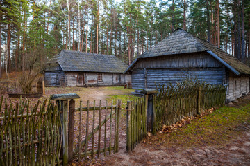 View of the rustic farm, peasant household. Wooden architecture of North and Baltics
