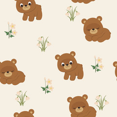 Spring seamless pattern with bears