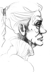 Hand-drawn picture. Pencil technique. Face of an old woman.