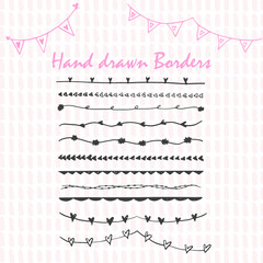 Collection of hand drawn ink borders