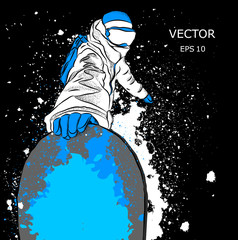 Snowboarder with a snowboard. Grunge background with blots. Vector illustration