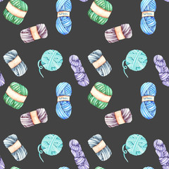 Seamless pattern with watercolor knitting yarn, hand drawn on a dark background