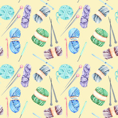 Seamless pattern with watercolor knitting elements: yarn, knitting needles and crochet hooks; hand drawn on a yellow background