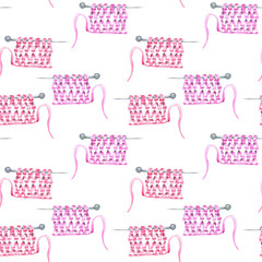 Seamless pattern with watercolor knitting yarn on the needles, hand drawn on a white background