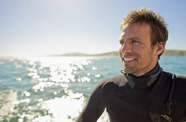 Portrait of a surfer in the water.