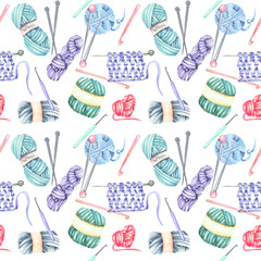 Seamless pattern with watercolor knitting elements: yarn, knitting needles and crochet hooks; hand drawn on a white background