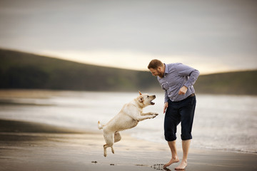 Mid-adult man playing with his dog at the beach.