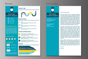 Resume and Cover letter in flat style design