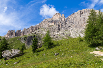 Wall Mural - View of the Roda di Vaèl (Rosengarten group) in the Italian Dolomites