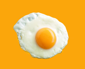 Aluminium Prints Egg fried egg on yellow background