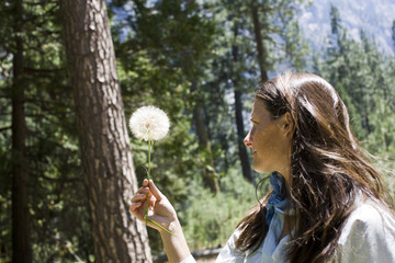 Mid-adult woman holding a dandelion seed.