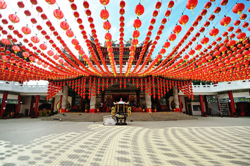 Foto op Plexiglas Temple Lanterns decoration at Thean Hou temple during the month of Chinese New Year, Kuala Lumpur, Malaysia.