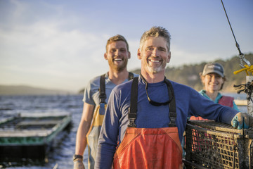 Family operating fishing business.