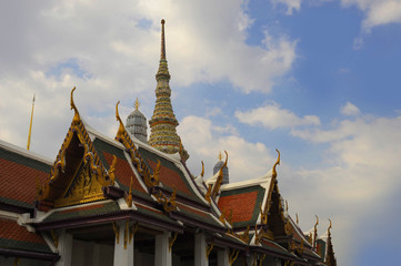 view of famous religion temple wat phra prakaew grand palace in Bangkok Thailand