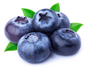 Group of five perfectly retouched blueberries with leaves isolated on white with clipping path