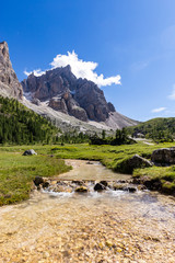 Wall Mural - View of Cimon della Pala, the best-know peak of the Pale di San Martino Group in the Dolomites, northern Italy.