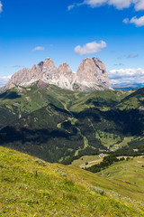 Wall Mural - The Sassolungo (Langkofel) Group of the Italian Dolomites in summer