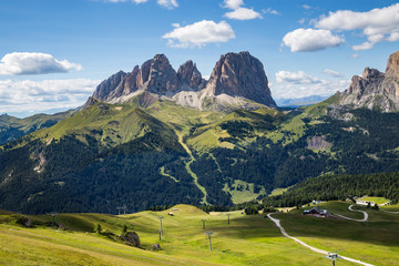 Wall Mural - The Sassolungo (Langkofel) Group of the Italian Dolomites in summer.