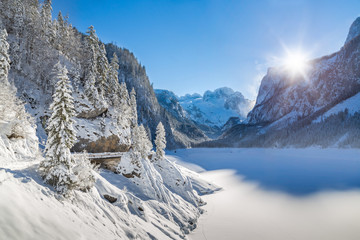 Winter mountain landscape at Gosausee with Dachstein, Austria
