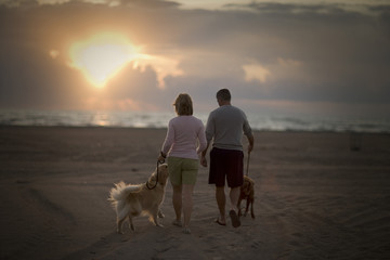 Mid-adult couple taking their dogs for a walk along a beach at sunset.