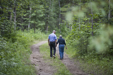Mature couple walking a forest path