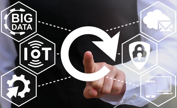 Reload iot business integration web computing concept. Circular arrow icon. Rotation, reset, refresh button.Big data cloud internet computer mobile device website browsing technology
